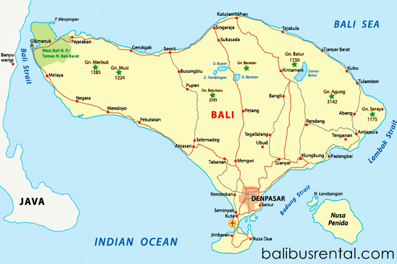 Map of Bali Island Indonesia