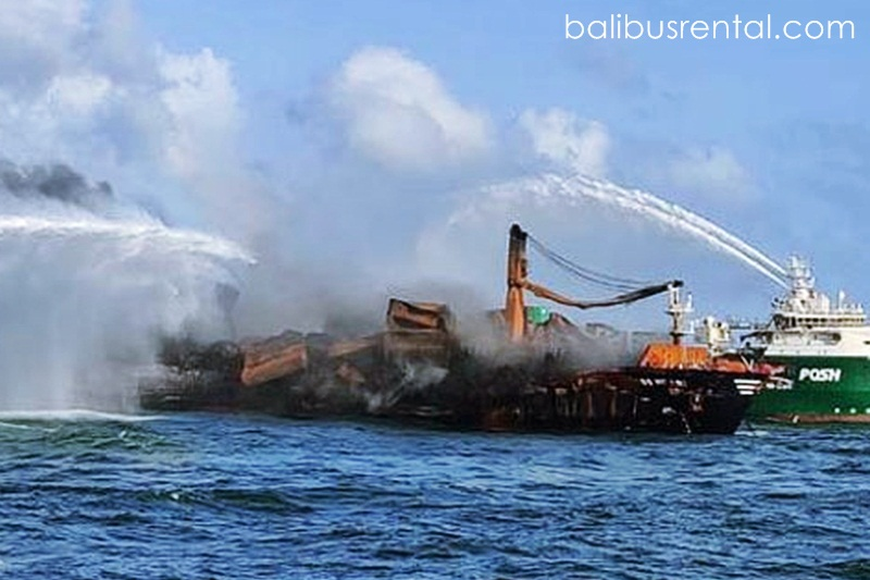 The navy stated on Wednesday that a burnt-out cargo ship that had already produced Sri Lanka's